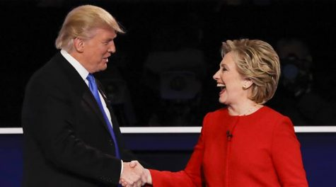 Presidential nominees shake hands (AP Photo/David Goldman)