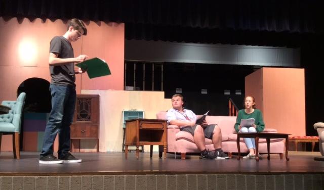 Mackenzie England, Max McClain and Sarah Nuefeldt rehearsing for Dear Ruth