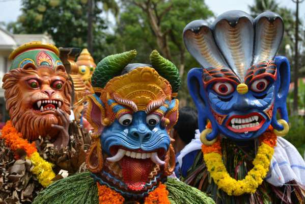 Masks from the Yam Festival in African culture