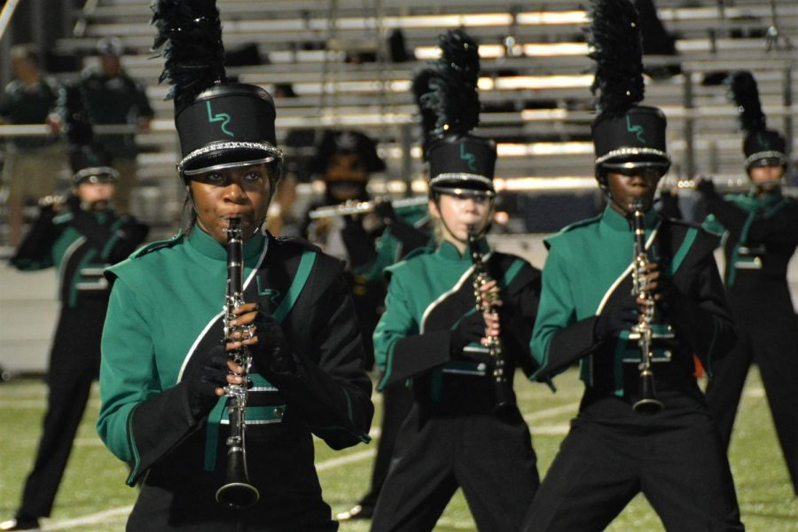 The Lake Ridge Band performs at halftime.