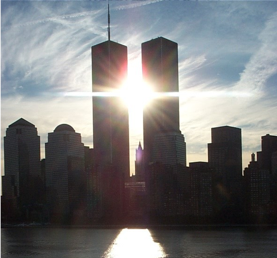 The+World+Trade+Center+towers+stand+before+they+were+attacked+by+terrorists.+