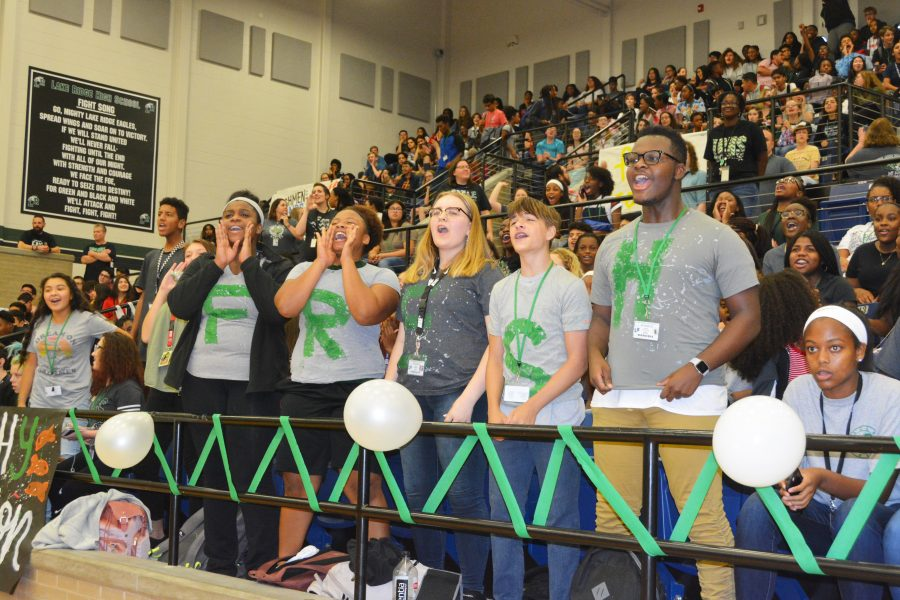 Freshman show their school spirit during their first high school pep rally.