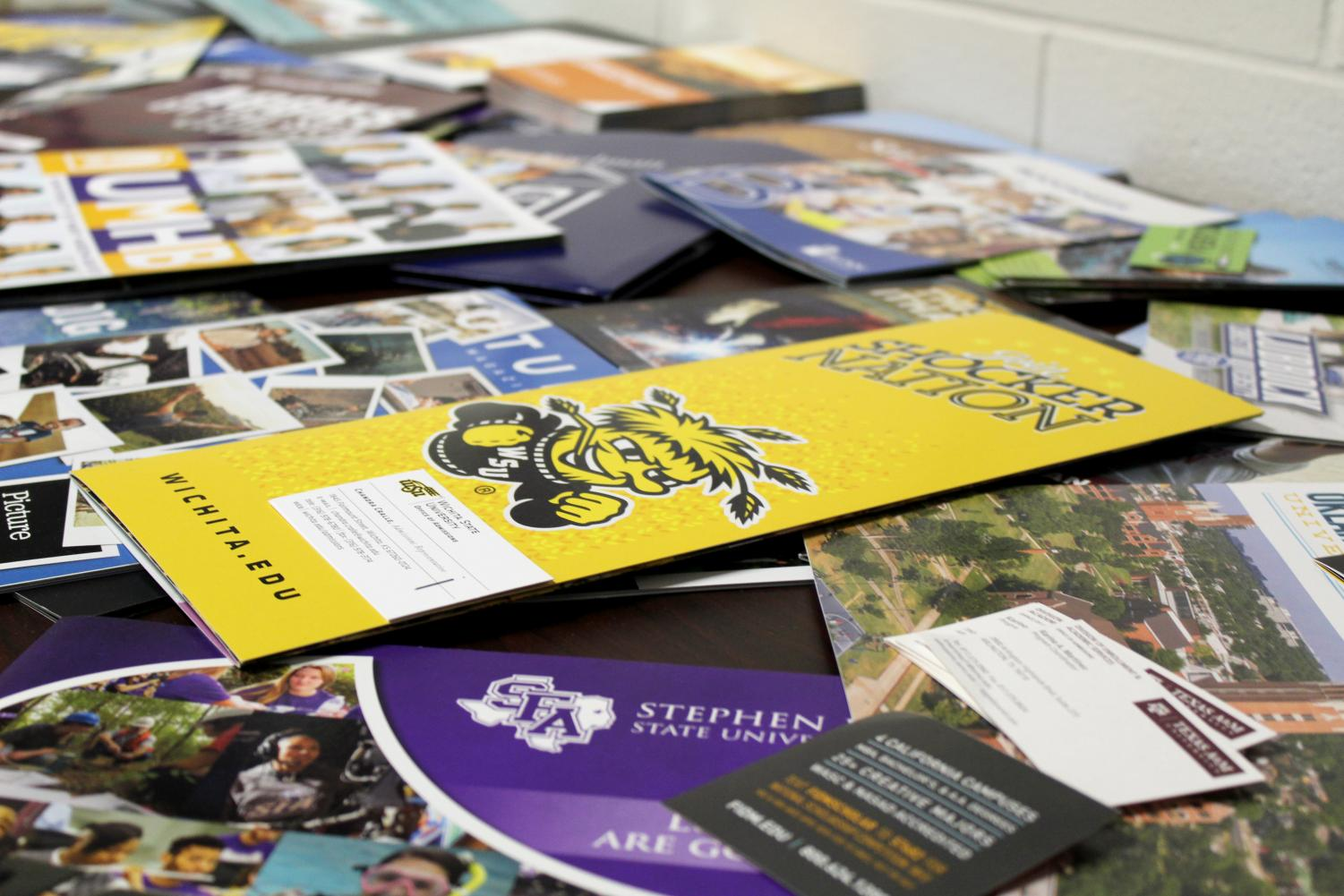 College pamphlets displaying the many options students have