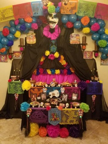 This is the ofrenda that is decorated on Día de los Muertos.