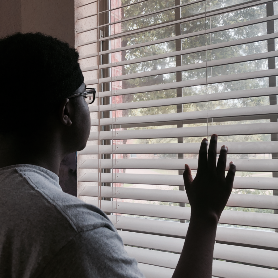 A student stares out the window, wondering when he will get to leave his house again.