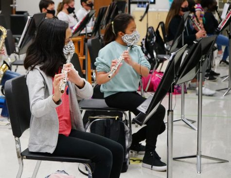 Two students play flutes through holes in their mask. Band students have specialized mask to help them play their instruments.