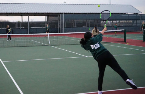 Tennis students practice at Lake Ridge HS Feb. 8.