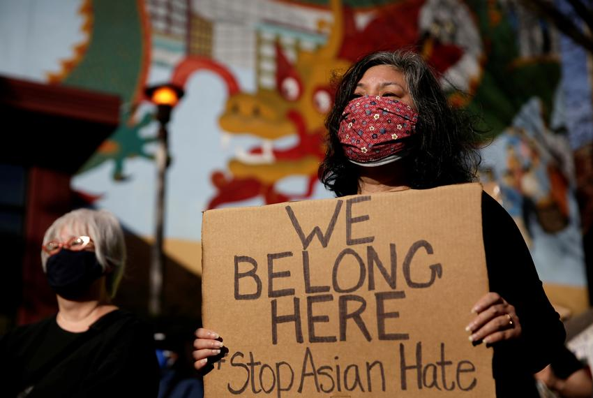 Following the Atlanta, Georgia shooting, protesters rallied in Hing Hay Park in Seattle on March 13th, 2021.